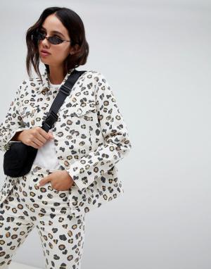 Джинсовая куртка из органического хлопка Weekday. Цвет: мульти