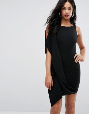 Платье мини с оборкой AQ/AQ AQ. Цвет: черный