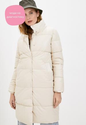 Куртка кожаная Moda Sincera. Цвет: бежевый