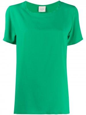 Блузка свободного кроя с короткими рукавами Alysi. Цвет: зеленый