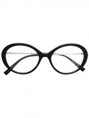 Классические очки в круглой оправе Max Mara. Цвет: черный