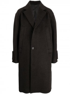 Однобортное пальто Wooyoungmi. Цвет: коричневый