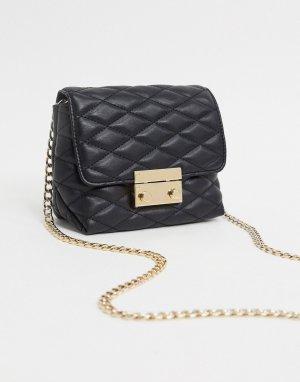 Черная стеганая сумка через плечо -Черный Lipsy
