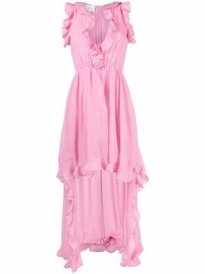 Платье асимметричного кроя с оборками Giambattista Valli. Цвет: розовый