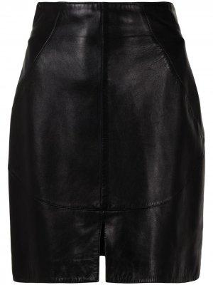 Мини-юбка с завышенной талией Alaïa Pre-Owned. Цвет: черный