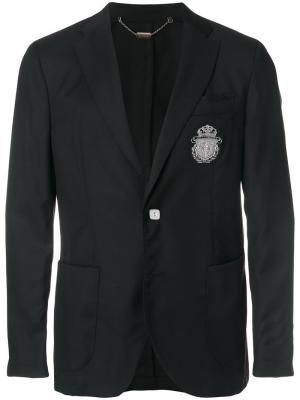 Пиджак с заплаткой в виде эмблемы Billionaire. Цвет: черный