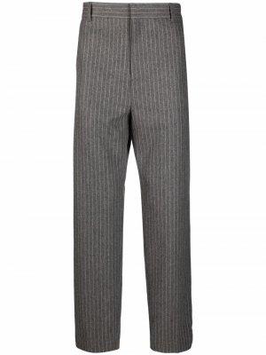 Прямые брюки в тонкую полоску Acne Studios. Цвет: серый