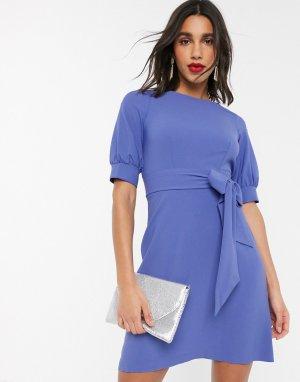 Лавандовое платье мини с объемными рукавами Closet-Фиолетовый Closet London