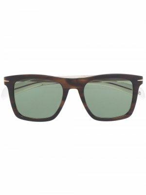Солнцезащитные очки в квадратной оправе черепаховой расцветки Eyewear by David Beckham. Цвет: коричневый
