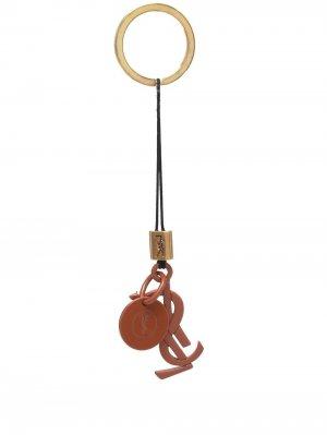 Брелок для ключей с логотипом Saint Laurent. Цвет: коричневый