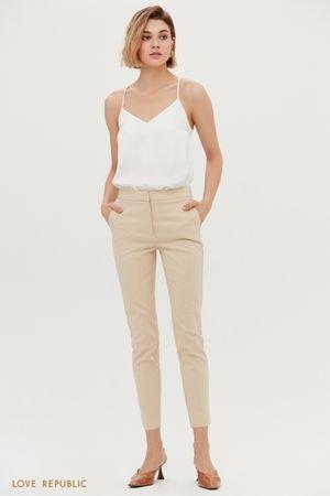 Кремовые укороченные брюки с завышенной талией LOVE REPUBLIC
