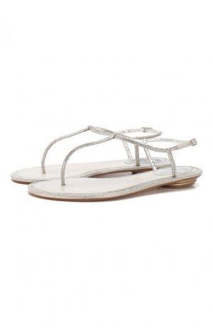 Текстильные сандалии Diana Rene Caovilla. Цвет: серебряный