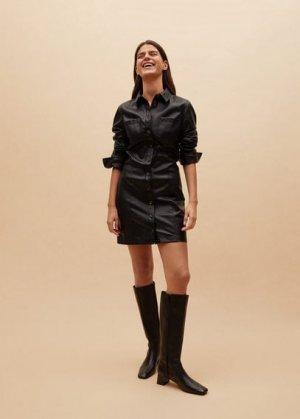 Высокие кожаные сапоги - Aire Mango. Цвет: черный