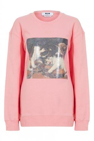 Розовый свитшот с принтом MSGM. Цвет: розовый