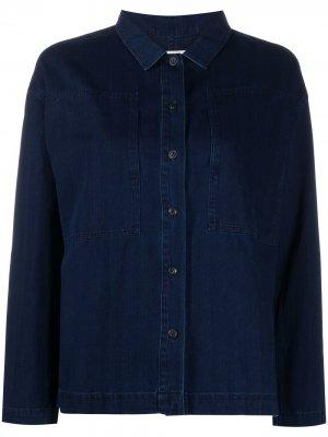 Джинсовая куртка-рубашка в полоску YMC. Цвет: синий
