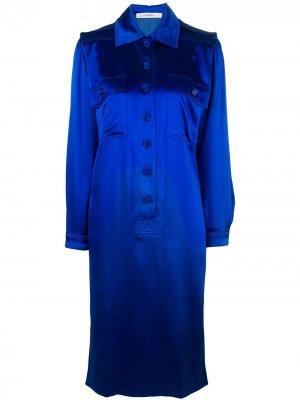 Платье-рубашка миди Jean Louis Scherrer Pre-Owned. Цвет: синий