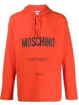 Худи с логотипом Moschino. Цвет: оранжевый