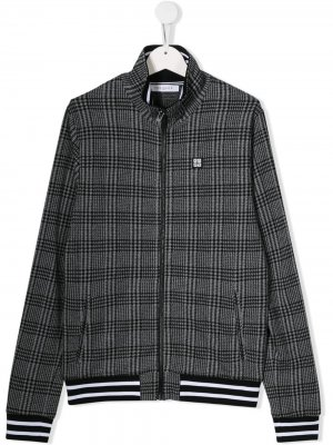Куртка в клетку на молнии Givenchy Kids. Цвет: серый