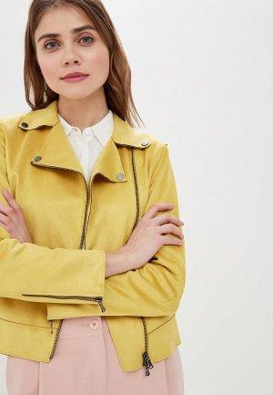 Куртка кожаная Madeleine. Цвет: желтый
