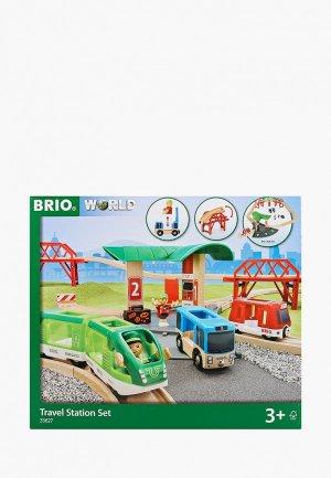 Конструктор Brio с автовокзалом, 2 мостами и ж/д, 25 деталей. Цвет: разноцветный