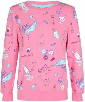 Свитшот для девочек , размер 116 Demix. Цвет: розовый