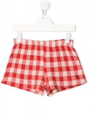 Клетчатые шорты из органического хлопка Bobo Choses. Цвет: красный