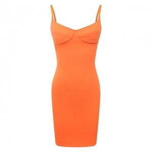 Хлопковое платье Heron Preston for Calvin Klein. Цвет: оранжевый