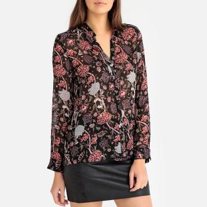 Блузка с рисунком пионы IKKS. Цвет: рисунок черный