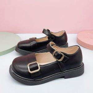 Для девочек Туфли мэри джейн с пряжкой SHEIN. Цвет: чёрный