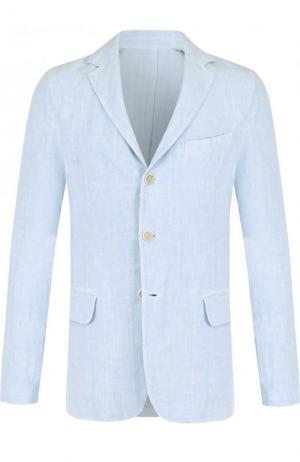 Однобортный льняной пиджак 120% Lino. Цвет: голубой