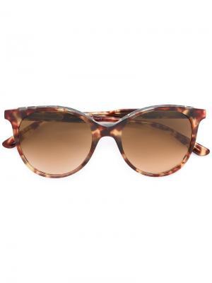 Солнцезащитные очки в круглой оправе Bottega Veneta Eyewear. Цвет: телесный