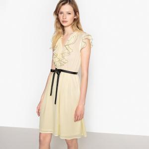 Платье расклешённое с небольшими воланами спереди LA REDOUTE COLLECTIONS. Цвет: желтый
