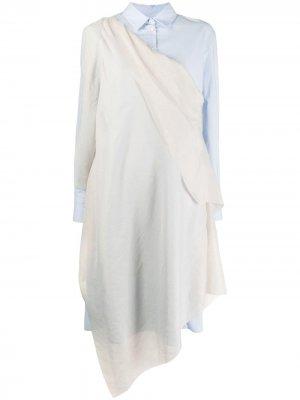 Платье-рубашка с драпировкой Chalayan. Цвет: синий