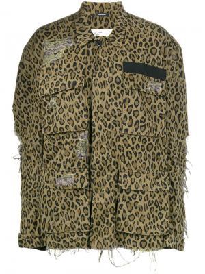 Джинсовая куртка с леопардовым принтом R13. Цвет: коричневый