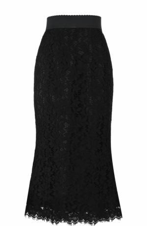Однотонная кружевная юбка-миди Dolce & Gabbana. Цвет: черный