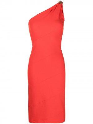 Платье на одно плечо с цепочкой Givenchy. Цвет: красный