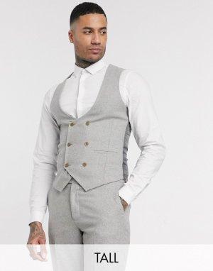 Твидовый жилет узкого кроя Tall wedding-Серый Harry Brown