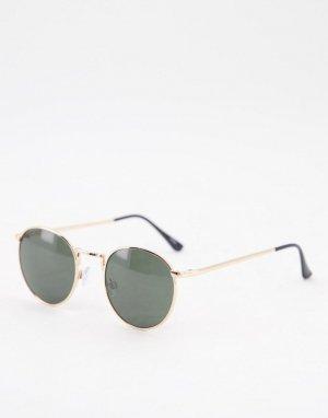 Круглые солнцезащитные очки в золотистой оправе -Золотистый Selected Homme