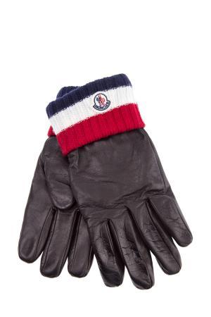 Перчатки из кожи наппа с вязаной трехцветной отделкой MONCLER. Цвет: черный