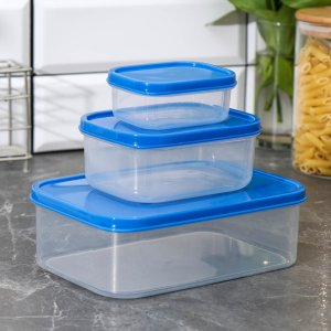 Набор контейнеров пищевых прямоугольных доляна, 3 шт: 150 мл, 500 1,2 л, цвет синий Доляна