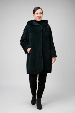 Женское пальто из альпака с капюшоном для больших размеров Elisabetta. Цвет: изумрудный