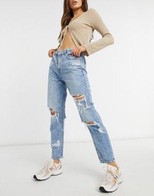 Голубые выбеленные джинсы в винтажном стиле со рваной отделкой -Голубой American Eagle