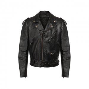 Кожаная куртка Balenciaga. Цвет: чёрный