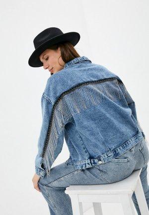 Куртка джинсовая Chic de Femme. Цвет: синий