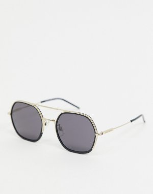 Черно-золотистые квадратные солнцезащитные очки-авиаторы -Черный Tommy Hilfiger