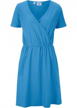 Платье с запахом-обманкой bonprix. Цвет: синий