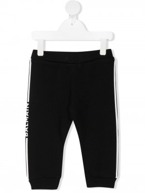 Спортивные брюки с логотипами на лампасах Balmain Kids. Цвет: черный
