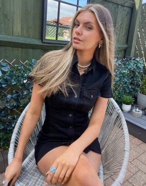 Черное джинсовое платье мини с карманами -Черный цвет Noisy May