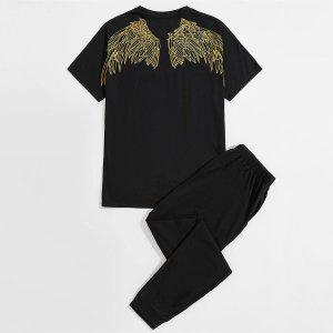 Мужской с принтом крыла и буквы Футболка & на кулиске Спортивные брюки SHEIN. Цвет: чёрный