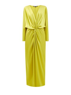 Длинное платье из струящегося шелкового атласа FISICO. Цвет: желтый